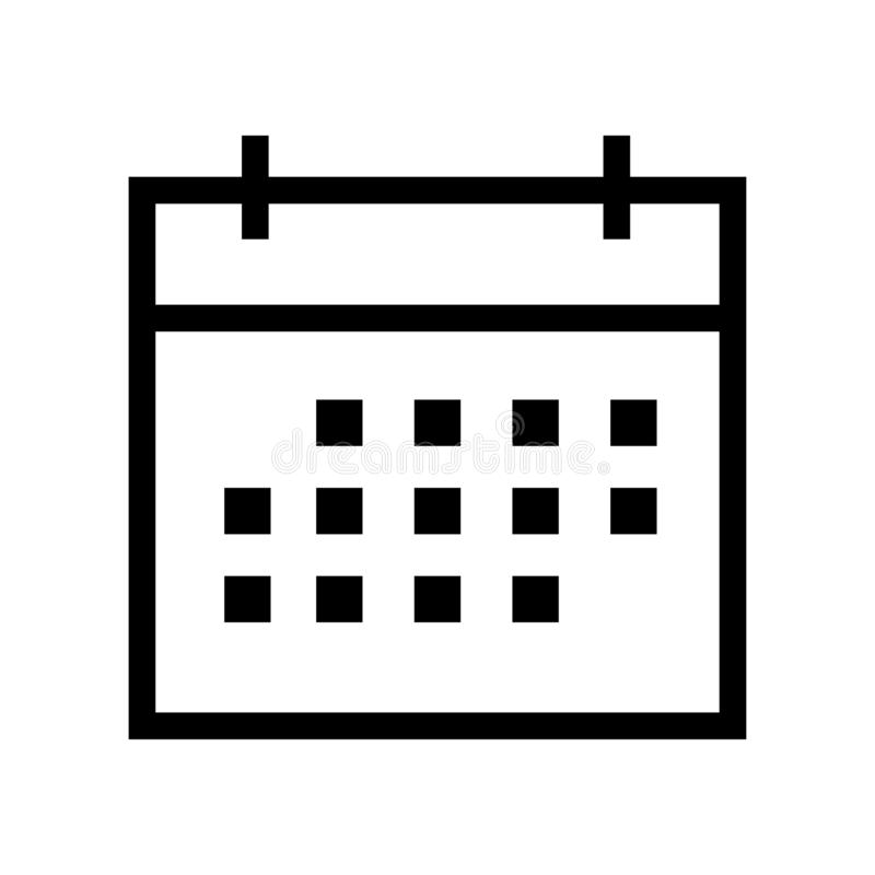 Calendar Icon in trendy flat style isolated on grey background. Calendar symbol for your web site design, logo, app, UI. Vector il. Calendar Isolated Flat Web stock illustration