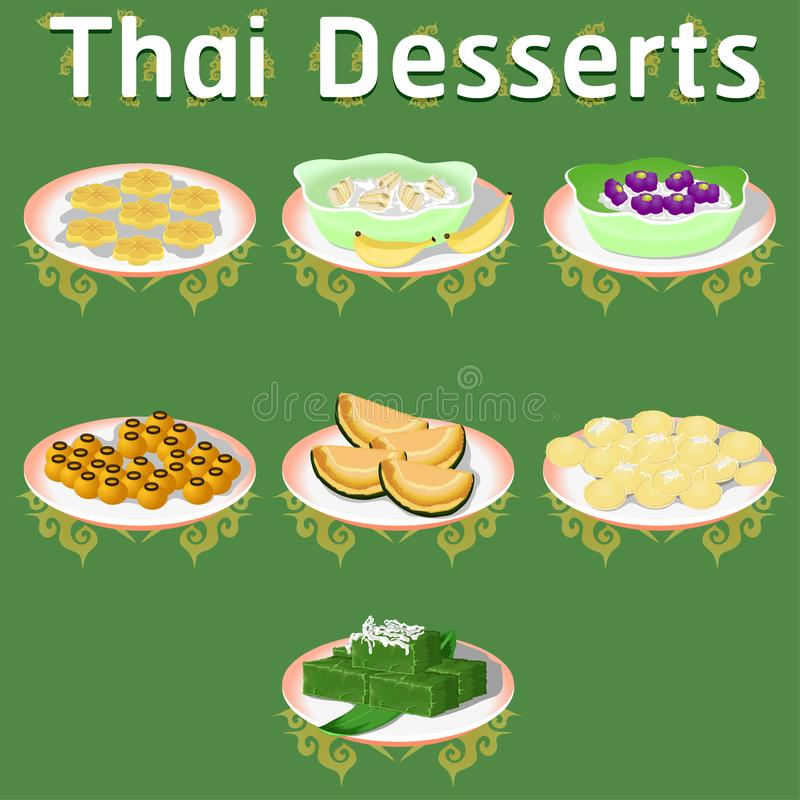 Thai khanom desserts sweet sugar tasty tub tim banana coconut delicious chestnut homemade vector download now illustration stock illustration
