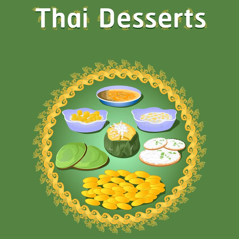 Thai khanom desserts sweet sugar tasty tub tim banana coconut delicious chestnut homemade vector download now illustration. Thai khanom desserts sweet sugar vector illustration