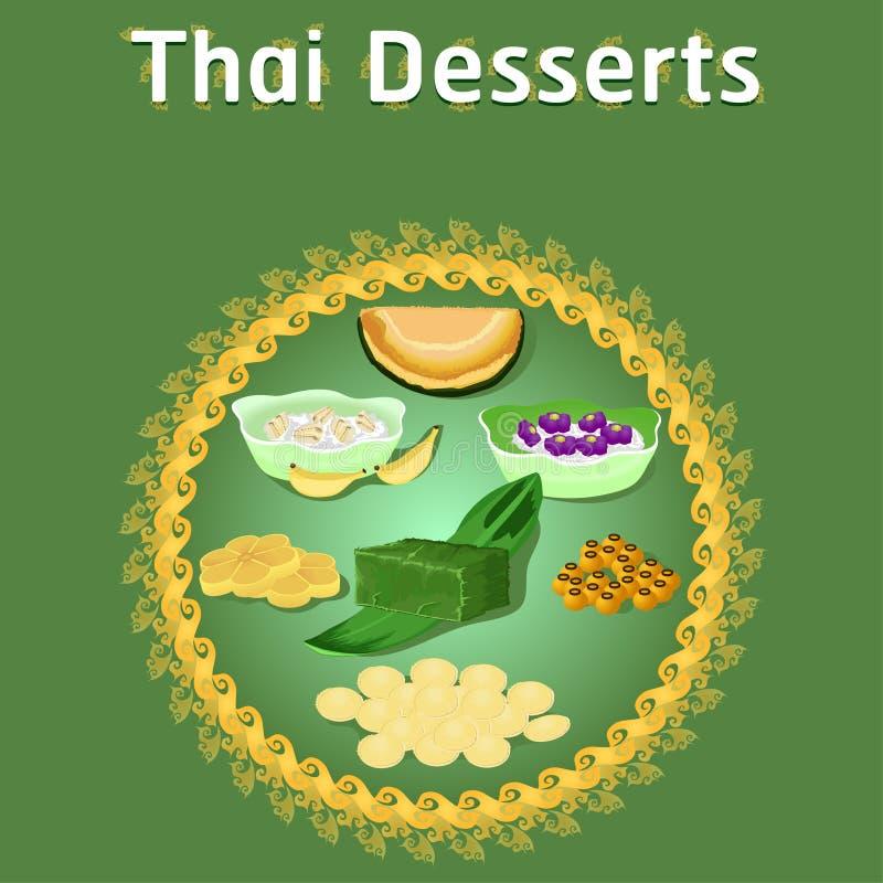 Thai khanom desserts sweet sugar tasty tub tim banana coconut delicious chestnut homemade vector download now illustration. Thai khanom desserts sweet sugar stock illustration