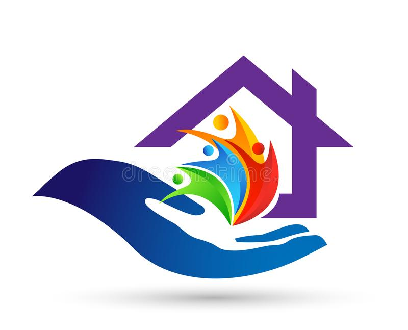 Abstract real estate people save House roof and hand taking care home logo vector element icon design vector on white background vector illustration