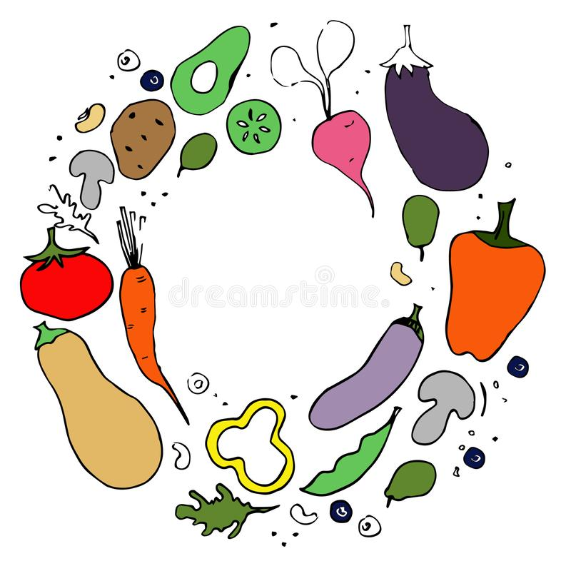 Vegetables. Healthy nutrition flat hand drawn illustration. vector illustration