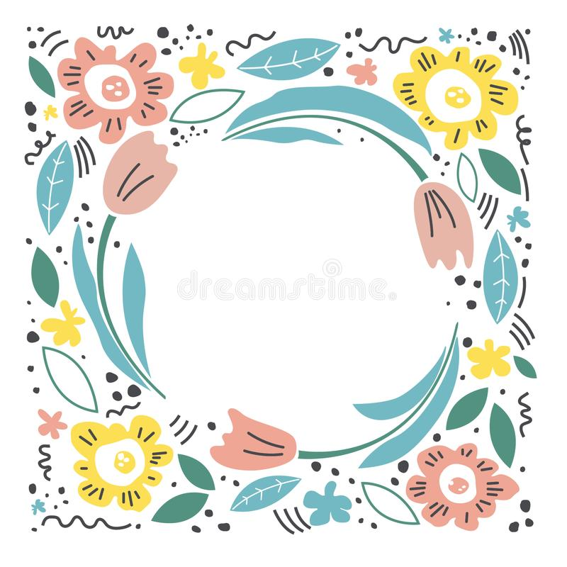 Hand drawn illustration for mother`s day. Vector concept with flowers on white background. - Vector vector illustration