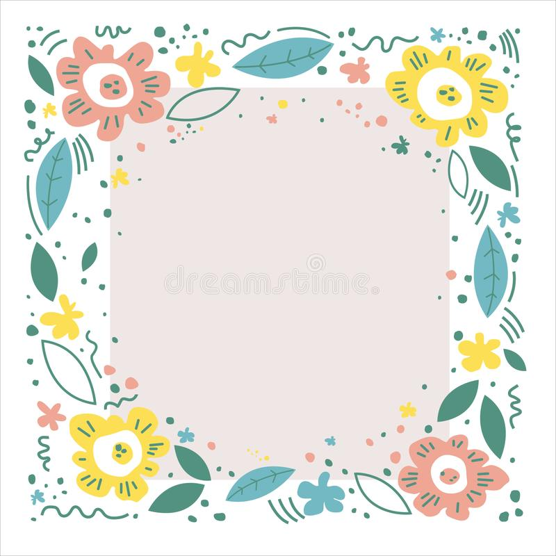 Hand drawn illustration for mother`s day. Vector concept wColor illustration with flowers.  Floral frame, hand drawn, flat layout. royalty free illustration