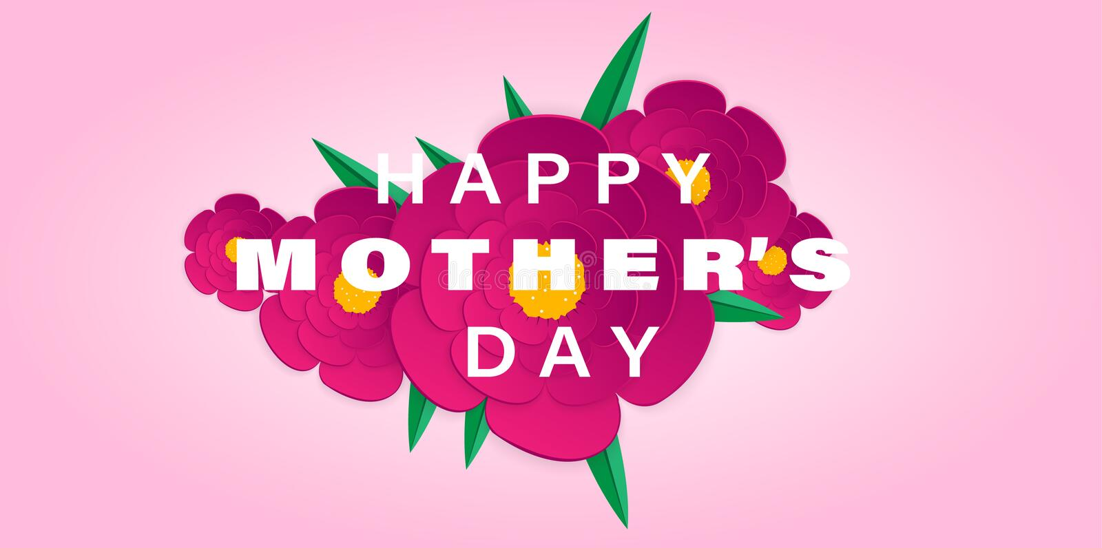 Mother`s day celebration card with purple flowers blossom isolated pink background. paper cut flowers, heart with copy space. royalty free illustration