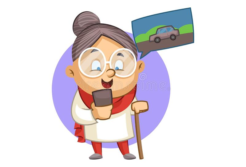 Vector Cartoon Illustration Of Old Lady. Vector cartoon illustration. Cute grandmother is booking cab and waiting for cab. Isolated on white background stock illustration