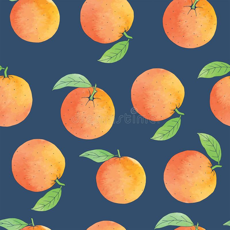 Fresh oranges background, hand drawing. Seamless pattern with fresh fruits collection. Decorative watercolor illustration. Colorful wallpaper Fresh oranges stock illustration