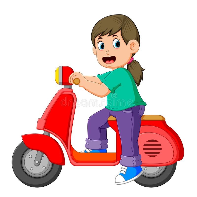 The girl is posing on the red scooter. Illustration of the girl is posing on the red scooter stock illustration