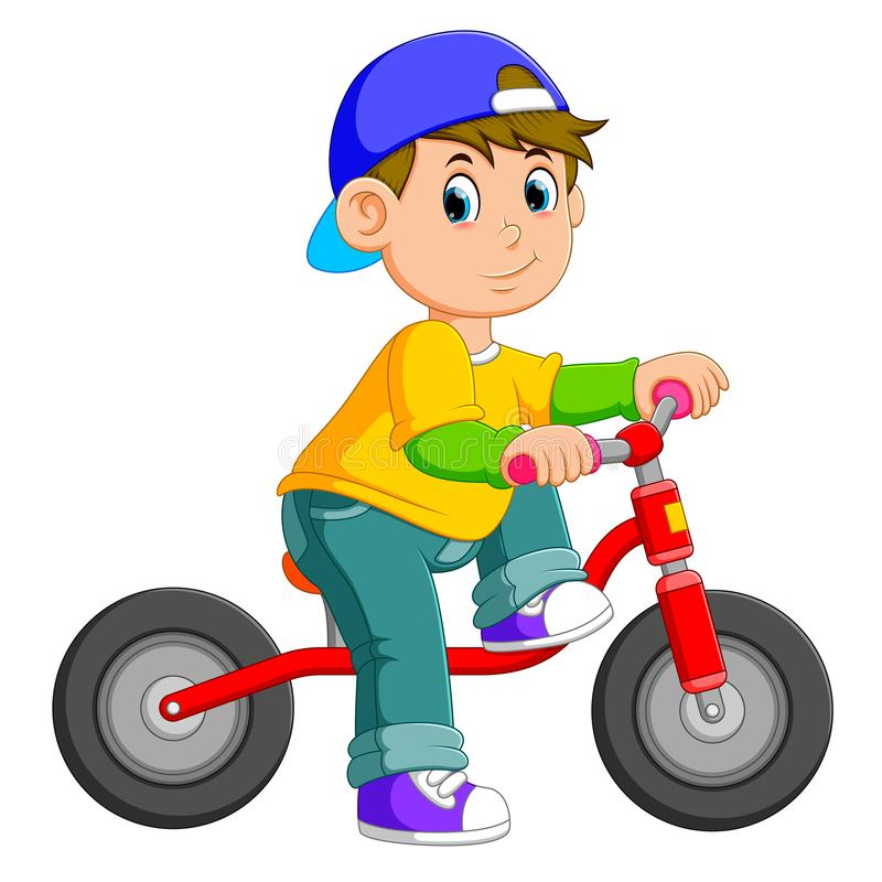 The boy is posing on the red bicycle. Illustration of the boy is posing on the red bicycle royalty free illustration