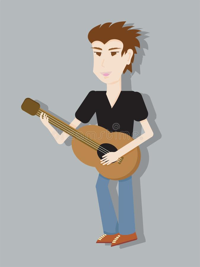 A man playing guitar character design.  stock illustration
