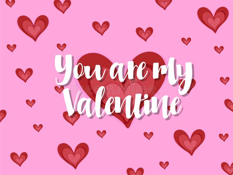 Falling red heart for card and you are my valentine text stock photography