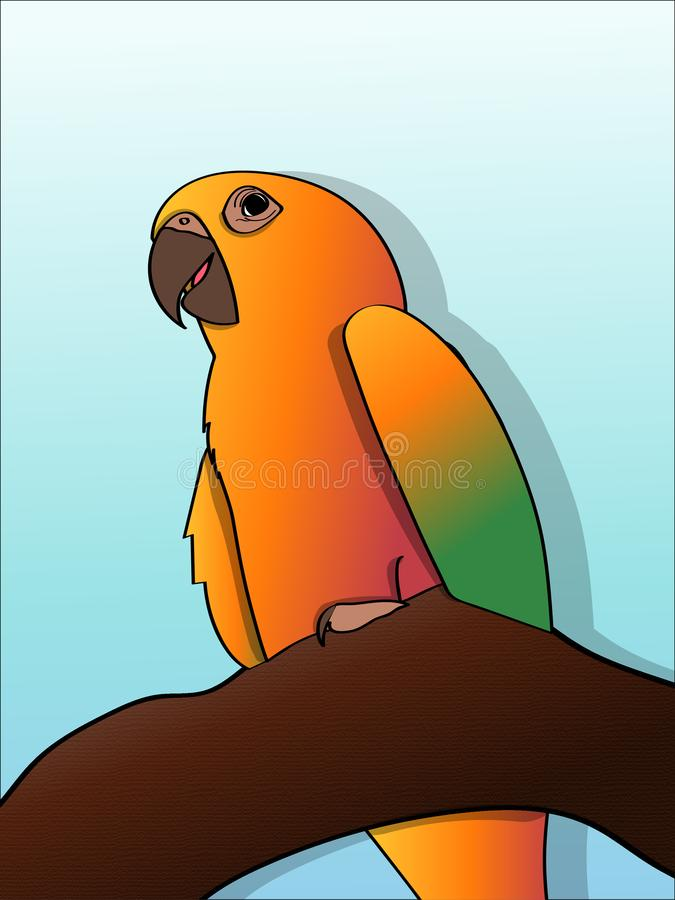 Colorful parrot on tree branch royalty free stock image