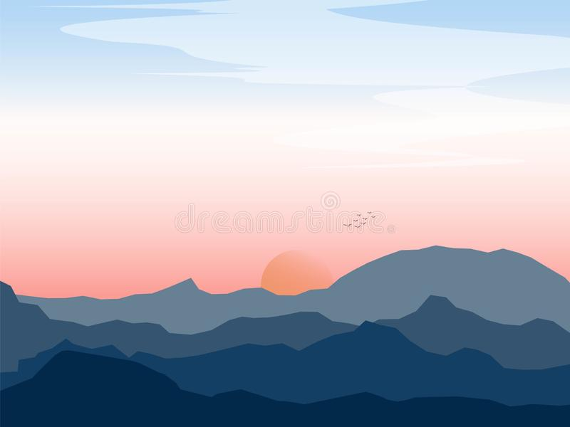 Graphic landscape of mountain with bird and sunset royalty free stock image