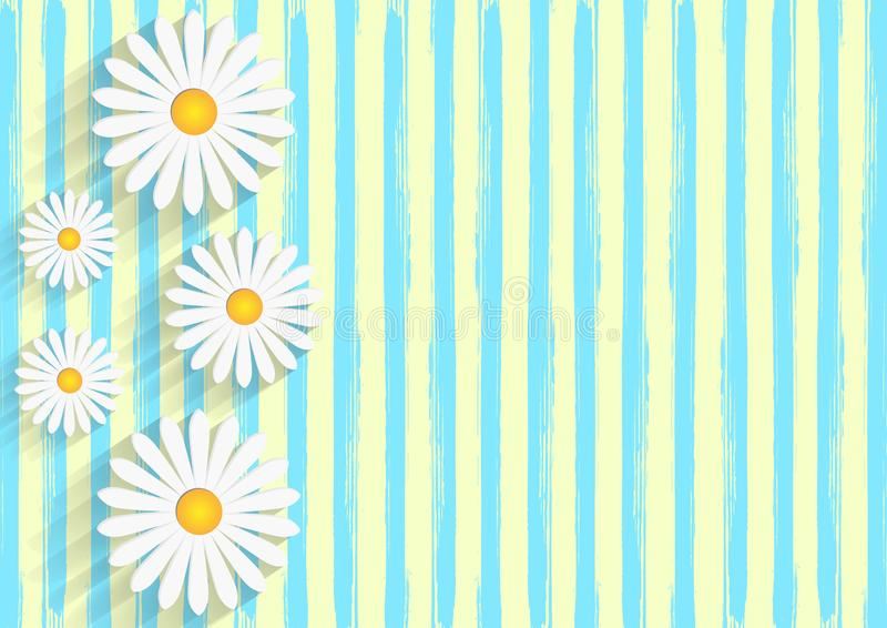 White Daisies in Yellow Background with Blue Watercolor Stripes Pattern. Vector illustration of beautiful white daisy flowers in yellow background with vertical stock illustration