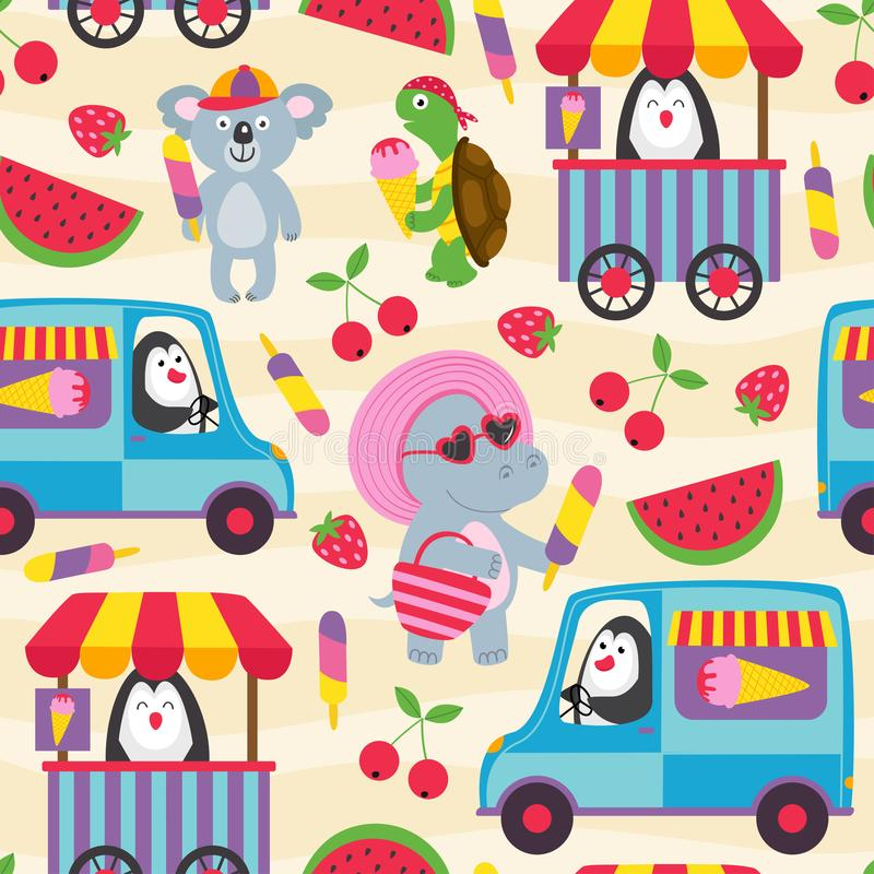 Seamless pattern with animals and ice cream vector illustration