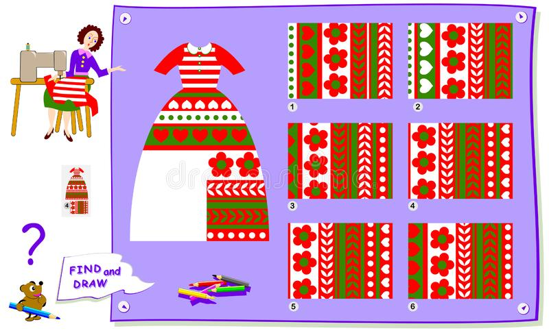 Logic puzzle game for kids. Help the dressmaker finish sewing the dress. Find a suitable piece of cloth to cut. Logic puzzle game for kids. Help the dressmaker vector illustration