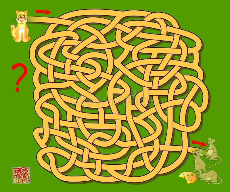 Logic puzzle game with labyrinth for children. Help the cat find the way till the mice. Printable worksheet for brainteaser book. Vector cartoon image stock illustration