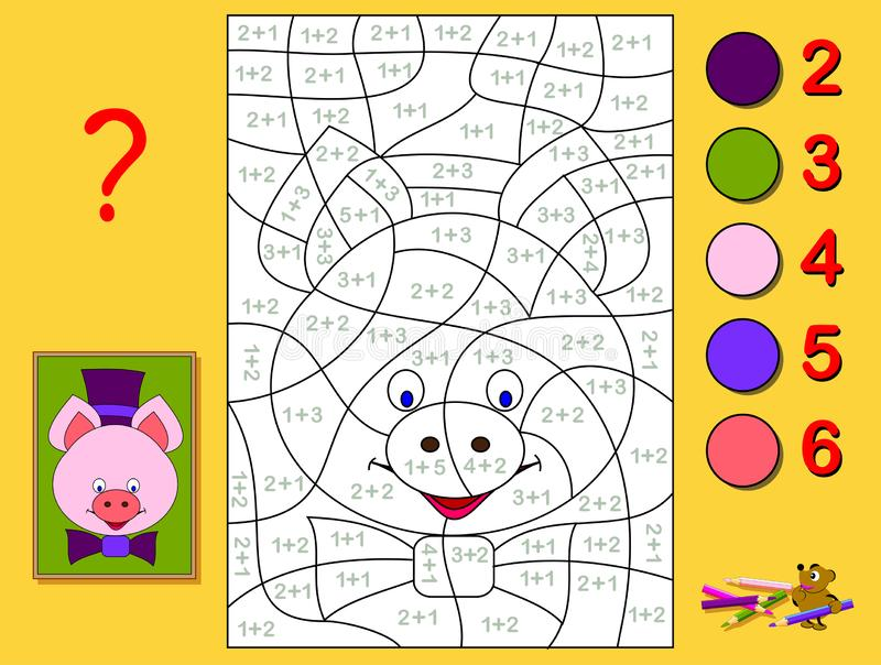 Educational page with exercises for children on addition. Need to solve examples and paint the portrait of a piglet. Educational page with exercises for vector illustration