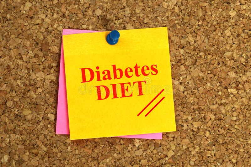 Diabetes DIET Written On Yellow Note With Push Pin On Cork Board stock photography