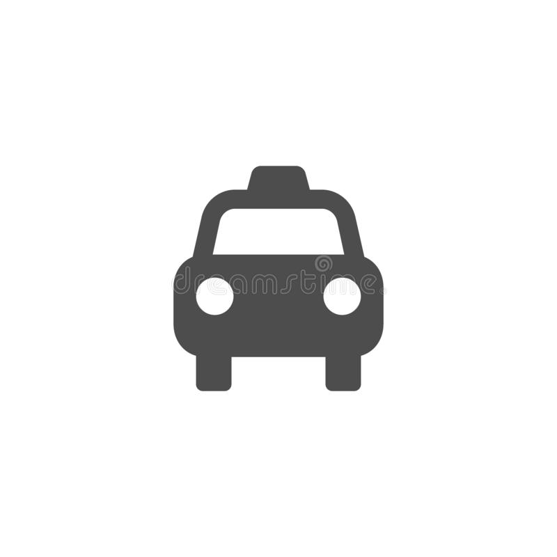 Taxi car isolated simple vector sign. Cab or taxi black flat icon stock illustration