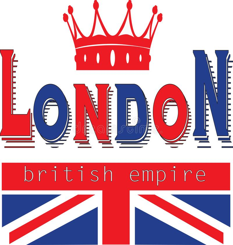 Trendy fashion T-shirt print for textile london british empire design pattern stock illustration