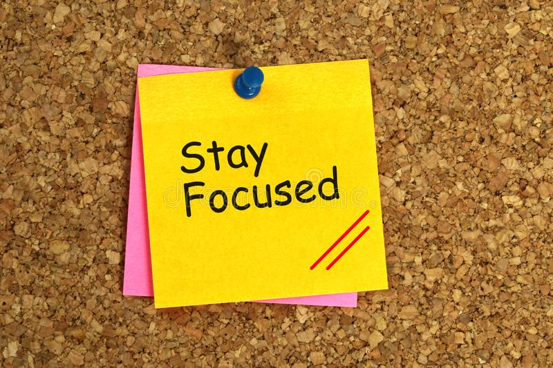 Stay focused sticky stock images