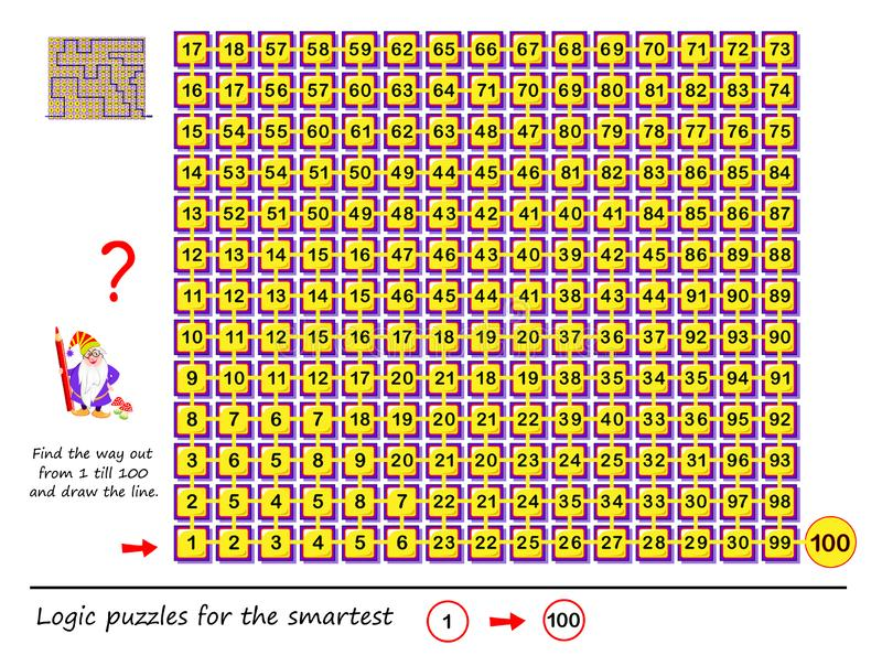 Logic puzzle game with labyrinth for children and adults. Find the way out from number 1 till 100 and draw the line. Printable worksheet for brainteaser book stock illustration