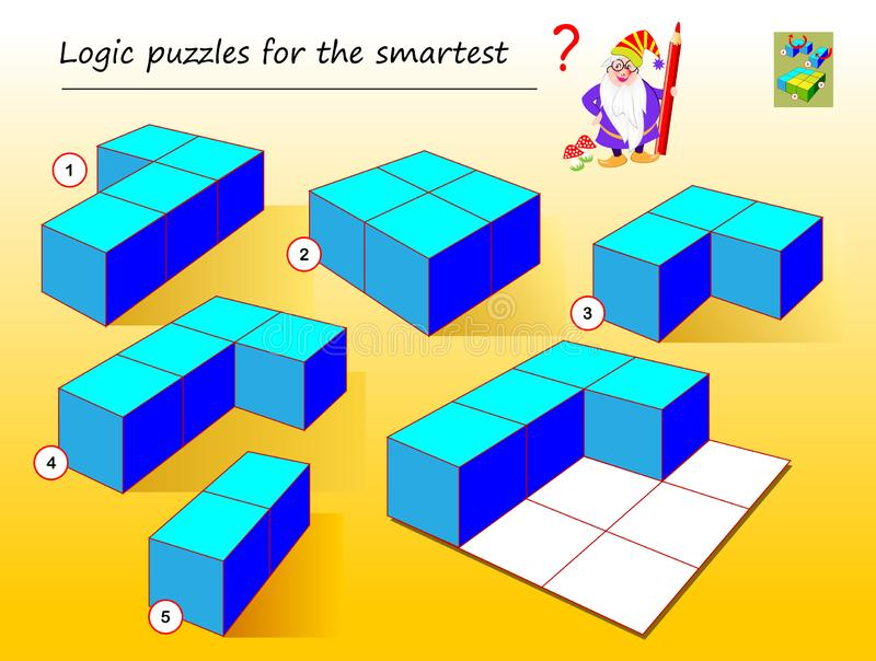 Logic puzzle game for smartest. Need to find which of geometrical figures need to use to complete empty places. Printable page for brainteaser book. Developing vector illustration