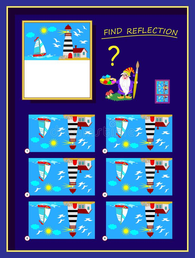 Logic puzzle game for smartest. Help the artist finish the picture, find correct reflection and draw it. vector illustration