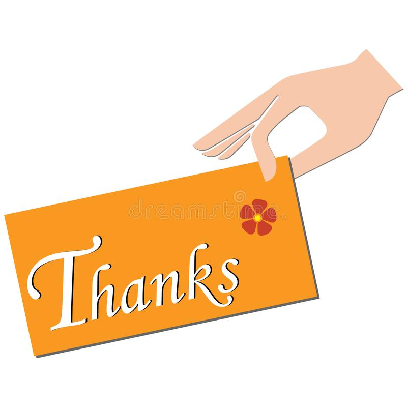 """Hand holding a note on which is written """"thanks"""". Hand holding an orange note with a flower on which is written """"thanks vector illustration"""