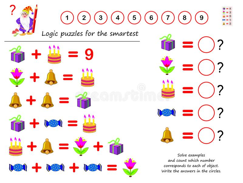 Mathematical logic puzzle game. Solve examples and count which number corresponds to each of object. Write the answers in circles. Printable page for vector illustration