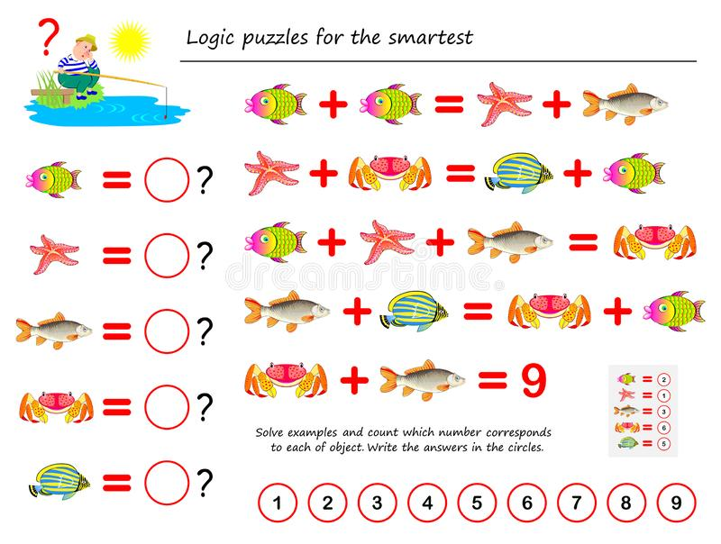 Mathematical logic puzzle game for smartest. Solve examples and count the value of each fish. Write the numbers in circles. Printable page for brainteaser book vector illustration