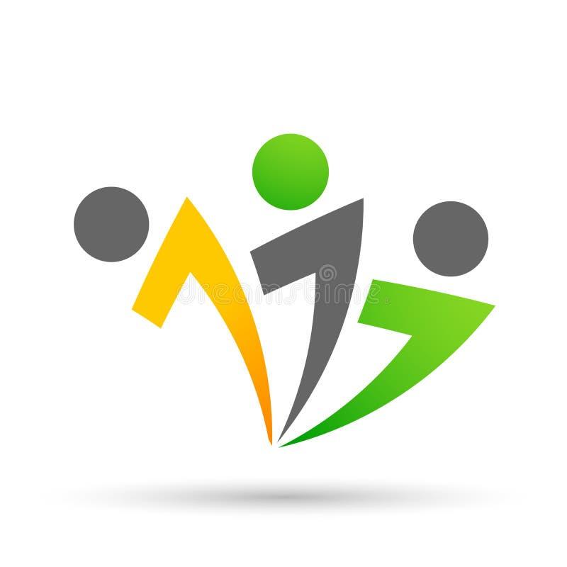 People union team work celebrating happiness wellness celebration logo healthy symbol icon element logo design on white background royalty free illustration