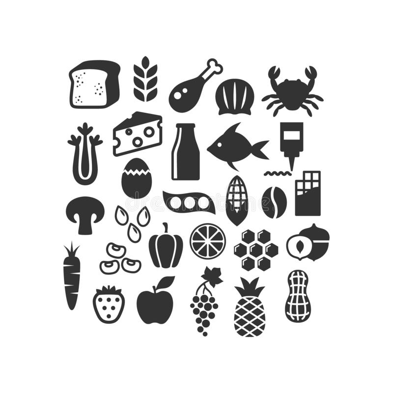 Various food ingredients black vector icon collection. royalty free illustration