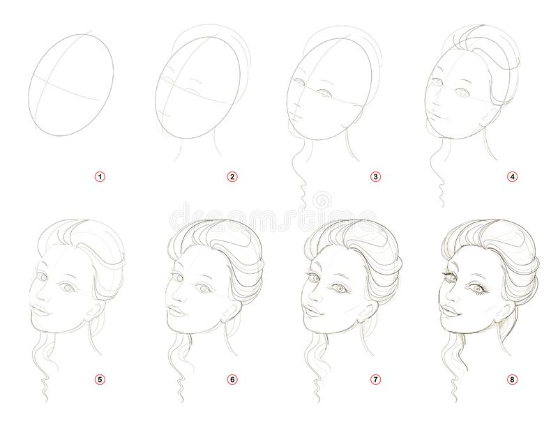 How create step by step pencil drawing. Page shows how to learn successively draw imaginary beautiful girl. stock illustration