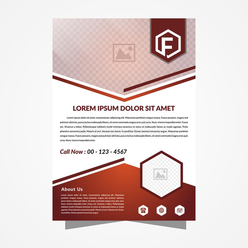 Hexagon flyer orange and brown royalty free illustration