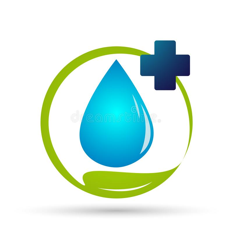 Water drop medical health care logo concept of water drop wellness symbol icon nature drops elements vector design. Water drop medical health care people logo vector illustration