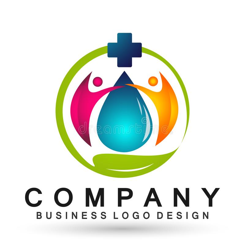 Water drop medical health care logo concept of water drop wellness symbol icon nature drops elements vector design. Water drop medical health care people logo stock illustration