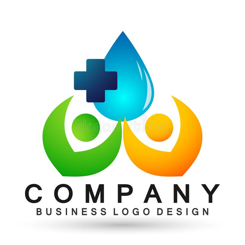 Water drop medical health care logo concept of water drop wellness symbol icon nature drops elements vector design. Water drop medical health care people logo royalty free illustration