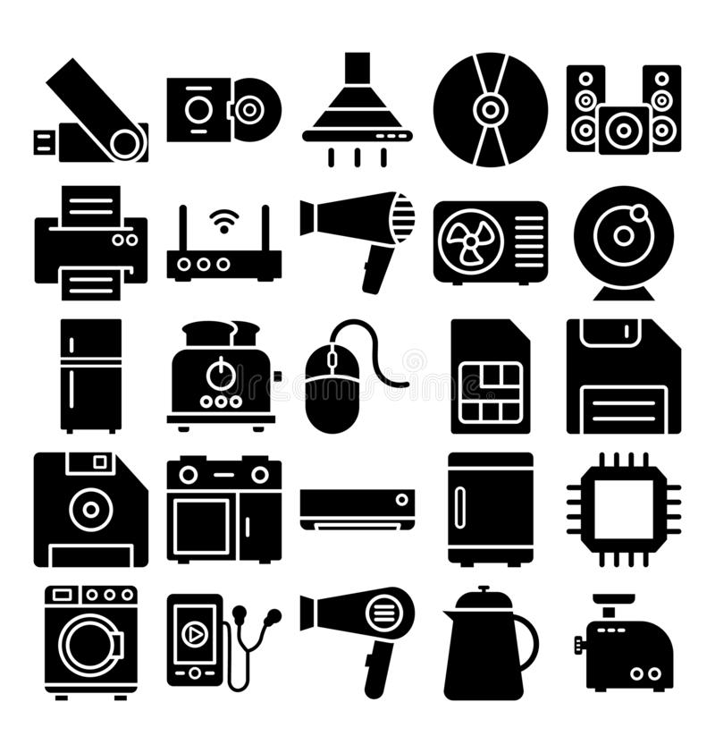 Electronics and Devices Isolated Vector icons Set which can easily modify or edit stock illustration