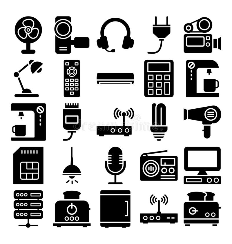 Electronics and Devices Isolated Vector icons Set which can easily modify or edit royalty free illustration