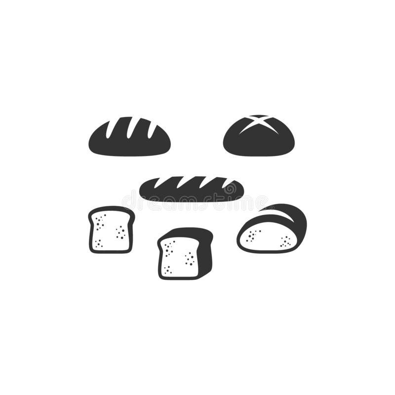 Bread types, french bread, sliced bread black vector icon set. stock illustration