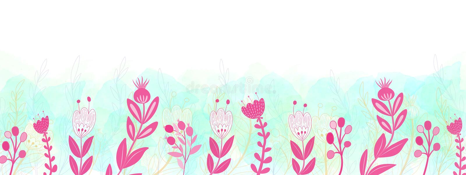 Hand Drawn Pink Floral Border with Green and Blue Watercolor Background Banner vector illustration