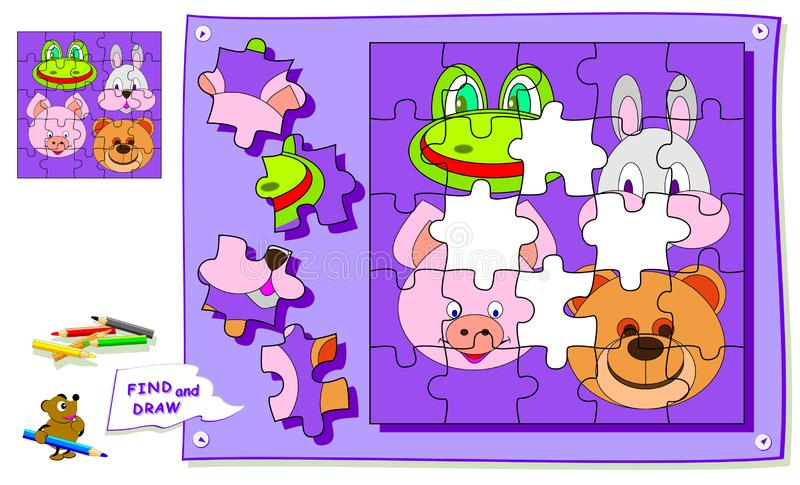 Logic puzzle game for kids. Need to find the place for each detail and paint animals heads. Worksheet for school textbook. royalty free illustration
