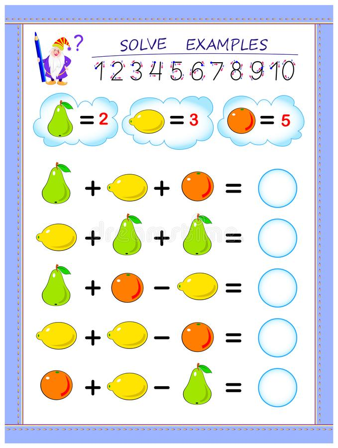 Educational page for children on addition and subtraction. Solve examples and write numbers in circles. Printable worksheet for kids textbook. Back to school vector illustration