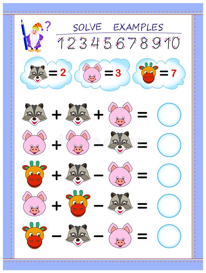 Educational page for children on addition and subtraction. Solve examples and write numbers in circles. Printable worksheet for kids textbook. Back to school stock illustration