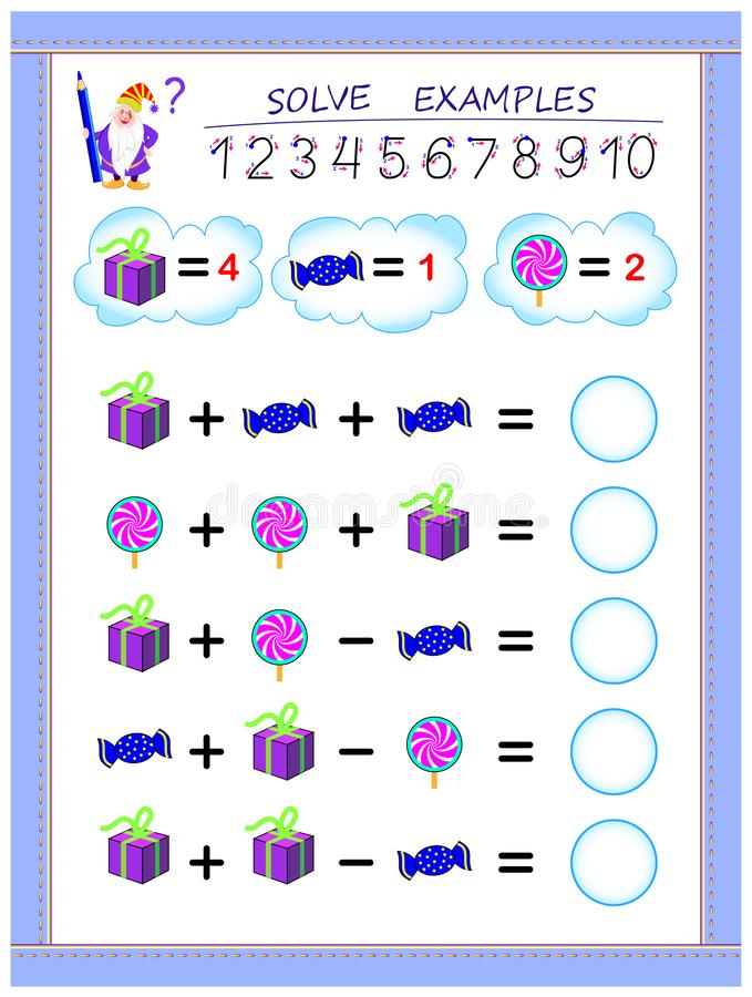 Educational page for children on addition and subtraction. Solve examples and write numbers in circles. Printable worksheet for kids textbook. Back to school royalty free illustration