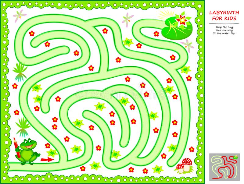 Logical puzzle game with labyrinth for little children. Help the frog find the way till the water lily. stock illustration