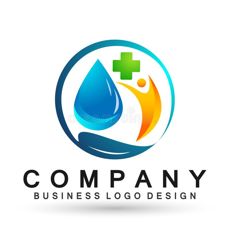 Water drop save water globe people life care logo concept of water drop wellness symbol icon nature drops elements vector design. Water drop save globe medical royalty free illustration
