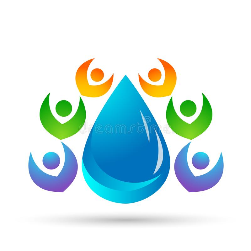Water drop save water globe people life care logo concept of water drop wellness symbol icon nature drops elements vector design. Water drop save globe  health vector illustration